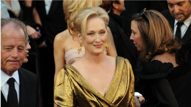 Meryl Streep dressed, performed as Donald Trump