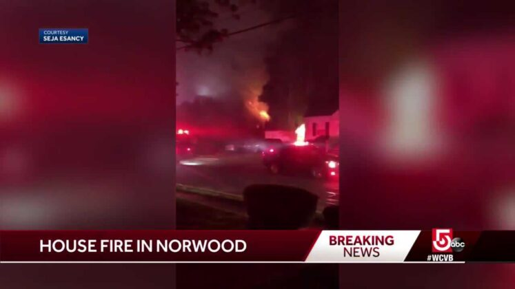Flames shoot through roof of Norwood home