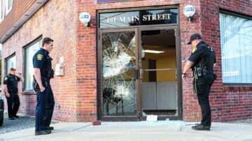 Glass doors smashed at Massachusetts police station
