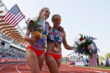 Community throws viewing party for local olympian's first heat