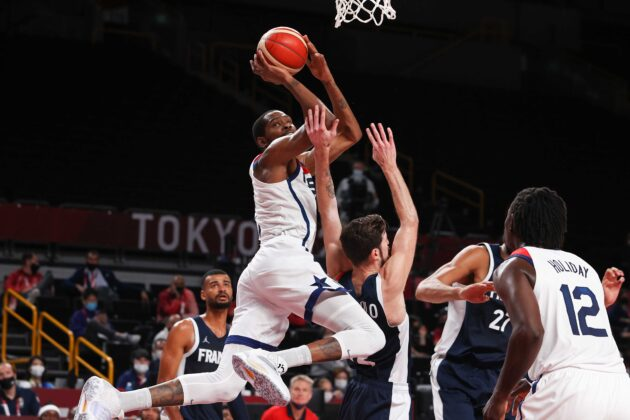 Going for gold: US men's basketball team battled against France for gold at the Tokyo Games