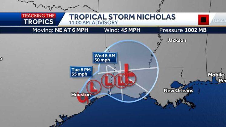 Nicholas slows as it dumps rain along Gulf Coast