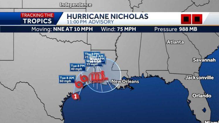 Nicholas strengthens to Category 1 hurricane ahead of Texas landfall