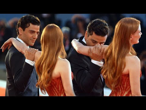 Oscar Isaac and Jessica Chatain's FLIRTY Red Carpet Moment