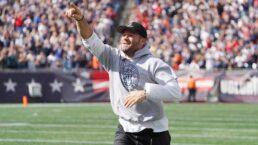 Patriots legend Julian Edelman celebrated during halftime ceremony