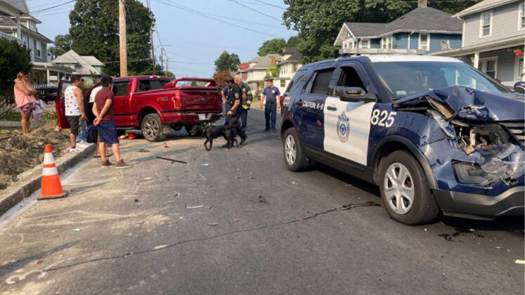 Police officer injured as truck crashes into K-9 cruiser