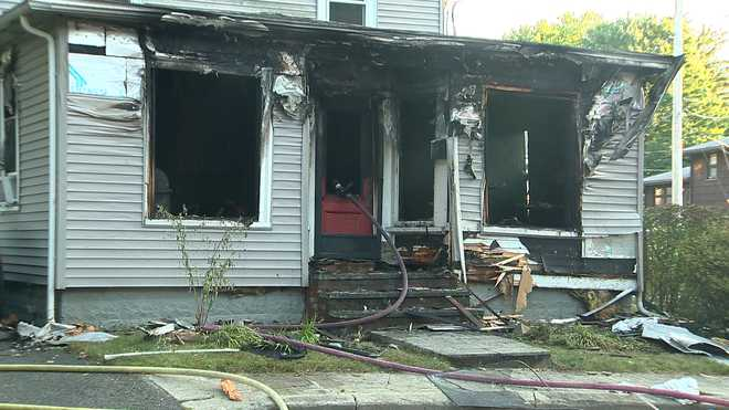 A man was found dead inside this home in Maynard, Massachusetts after a fire broke out at the Park Street residence on Sept. 2, 2021.