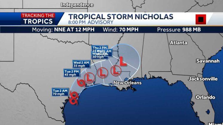 Tropical Storm Nicholas gets stronger, threatens to hit Texas as hurricane