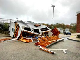 Announcer's box at high school's athletic field blown over in nor'easter