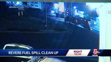 Tanker rolls over in Revere rotary spilling 10,000 gallons of fuel on roadway